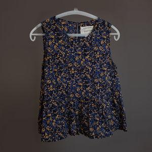 Women's Blouse  Blue Yellow Floral Current Elliot